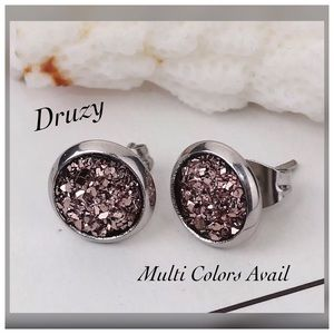 Stainless Steel Sparkly Druzy Earrings